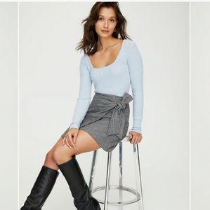 Aritzia Wilfred plaid mini skirt wrap front